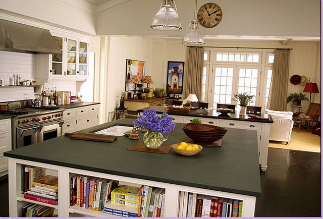 the ultimate dream kitchen--from Something's Gotta Give. Nancy Meyers nails it againMovie House, Dreams Kitchens, Beach House, Soapstone Countertops, Black Kitchens, Kitchens Islands, Something Gotta, Beachhouse, White Kitchens
