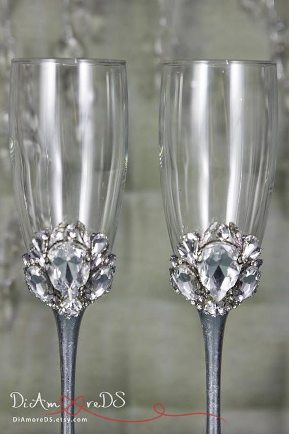 8ac762021f6 Crystal Wedding Champagne Flute Personalized Bling Wedding
