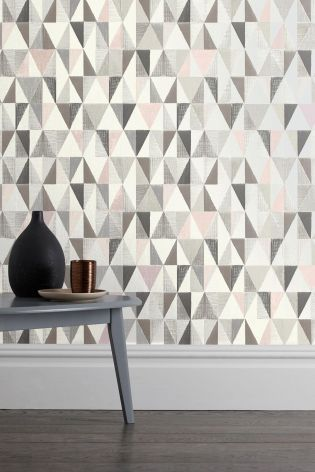 Geo is THE print of the season! Combined with pink and grey, this wallpaper is simply gorgeous.