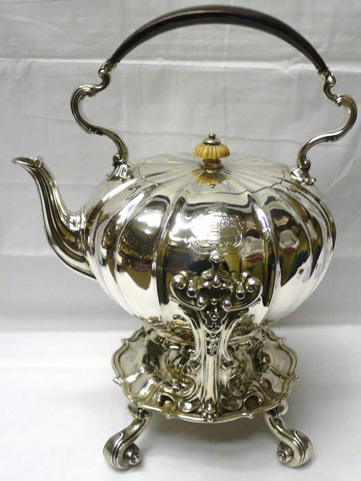 Antique Victorian Silver Tea Kettle....