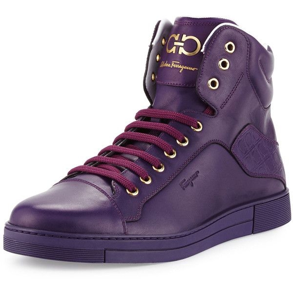 Salvatore Ferragamo Stephen 2 Calfskin High-Top Sneaker (800 CAD) ❤ liked on Polyvore featuring men's fashion, men's shoes, men's sneakers, men's shoes sneakers, purple, salvatore ferragamo mens shoes, mens high top sneakers, mens hi tops, mens lace up shoes and mens high top shoes