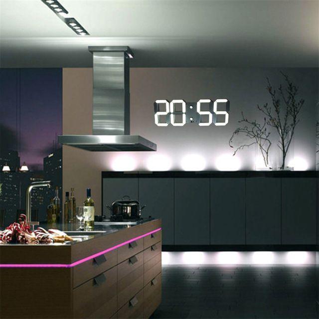 Moderne mur numérique horloge Télécommande 3D Horloge Murale Led D'alarme Horloge Montre Décoratif Décor À La Maison