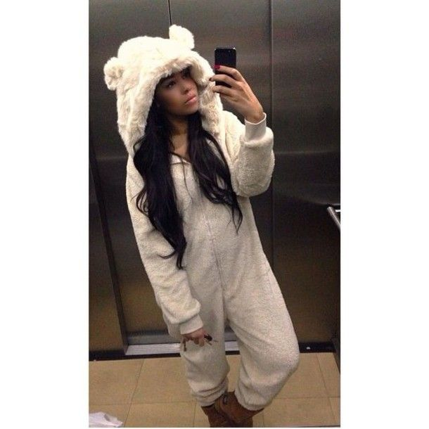 Pajamas Fluffy Onesie Next All In One Bear Ones Cream