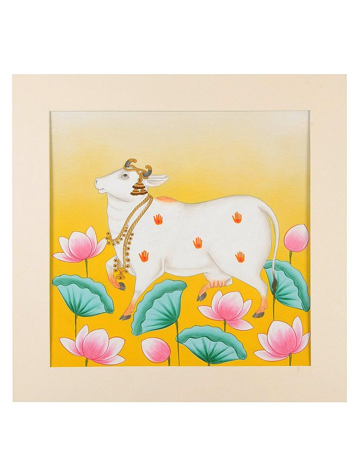 Buy Yellow White Green Pink Orange Kaamdhenu Amidst Lotus Artwork on Board Paper 15.5 in x Poster Color Art Decorative The Sacred Cow Contemporary Work Depicting Online at Jaypore.com