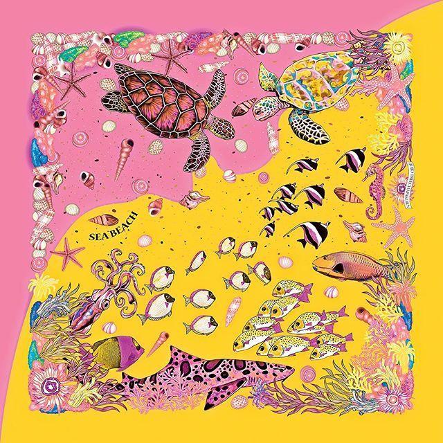 *JoJo Preechapakorn *Sea Beach scarf, new color, yellow/pink *Reactive dye on handwoven thai silk #jojopreechapakorn #seabeachscarf