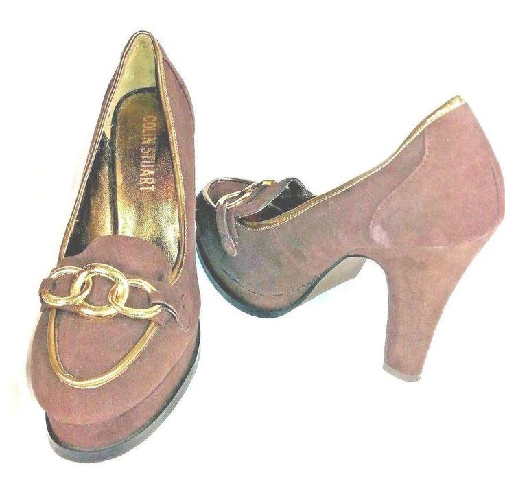 Colin Stuart Women's Size 6.5 Brown Suede Pumps Heels With Gold Chain Link Decor #ColinStuart #PumpsPlatform #AllOccasion