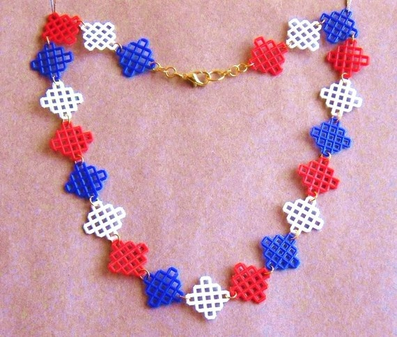 Plastic Canvas Necklace - Red, White, Blue