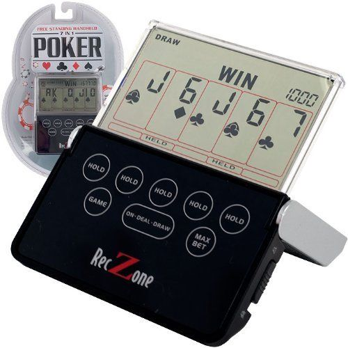 Rec Zone Hand Held Video Poker Game - 7 Games in 1! by tm global. $24.99. Take all the fun of the casino with you wherever you go with this high grade free standing handheld 7 in 1 electronic poker game. This can be a compact handheld game or a free standing game with the fold out stand. The easy touch operating buttons make this game a snap to use too. Play one of seven different poker games including: Draw, 2's Wild, Bonus, 2x Bonus, 2x2 Bonus, Joker and 2x Jokers Wild.  Featur...