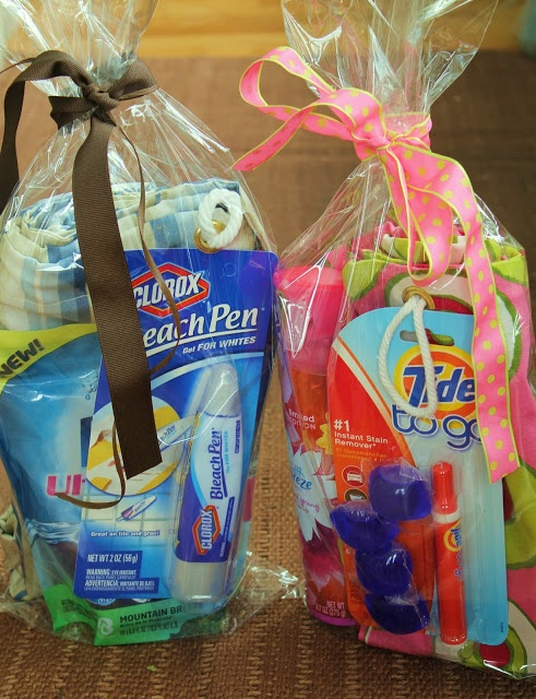 Grad Gifts on a Budget - His/Hers Laundry To Go Bags: Totes, Fabreeze, Detergent Gels, Pens
