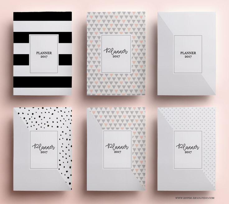 capas do planner 2017 modelo minimalista, preto e branco, download de planner 2017, planner, printable, free, grátis
