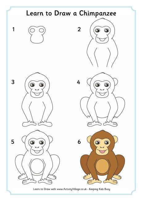 Magra per disegnare uno scimpanzé