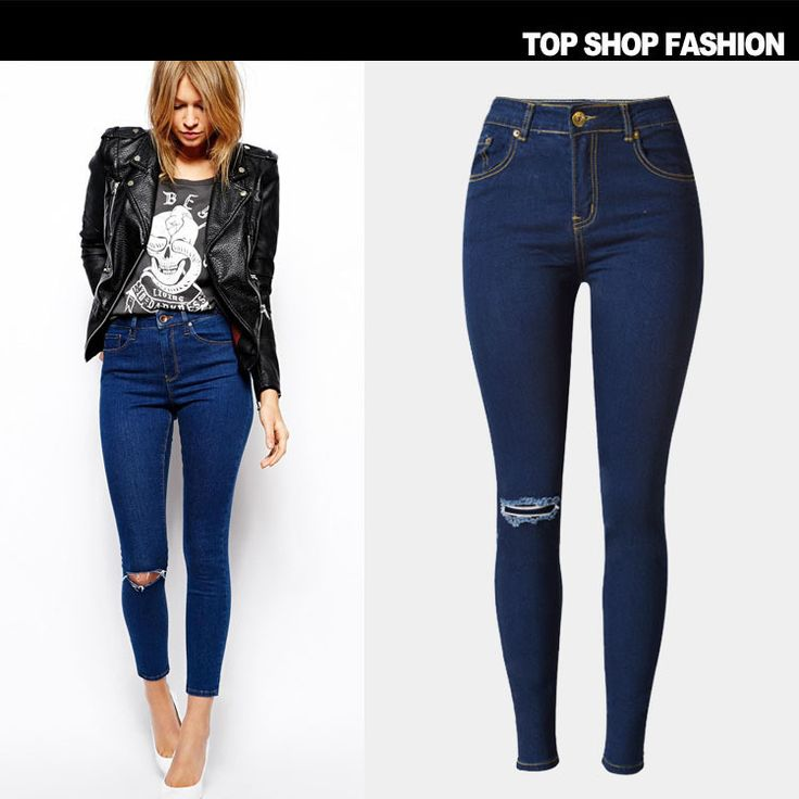 Ripped Holes Jeans Slim Baggy Jeans Pants Plus Size Skinny Pants [6365922756]
