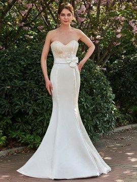 Elegant Strapless Sweetheart Long Mermaid Wedding Dress