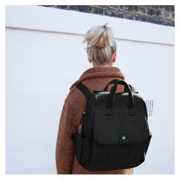 Baby Bag Babymel Robyn Backpack Black Faux Leather Backpack Changing Bag Black Leather Backpack