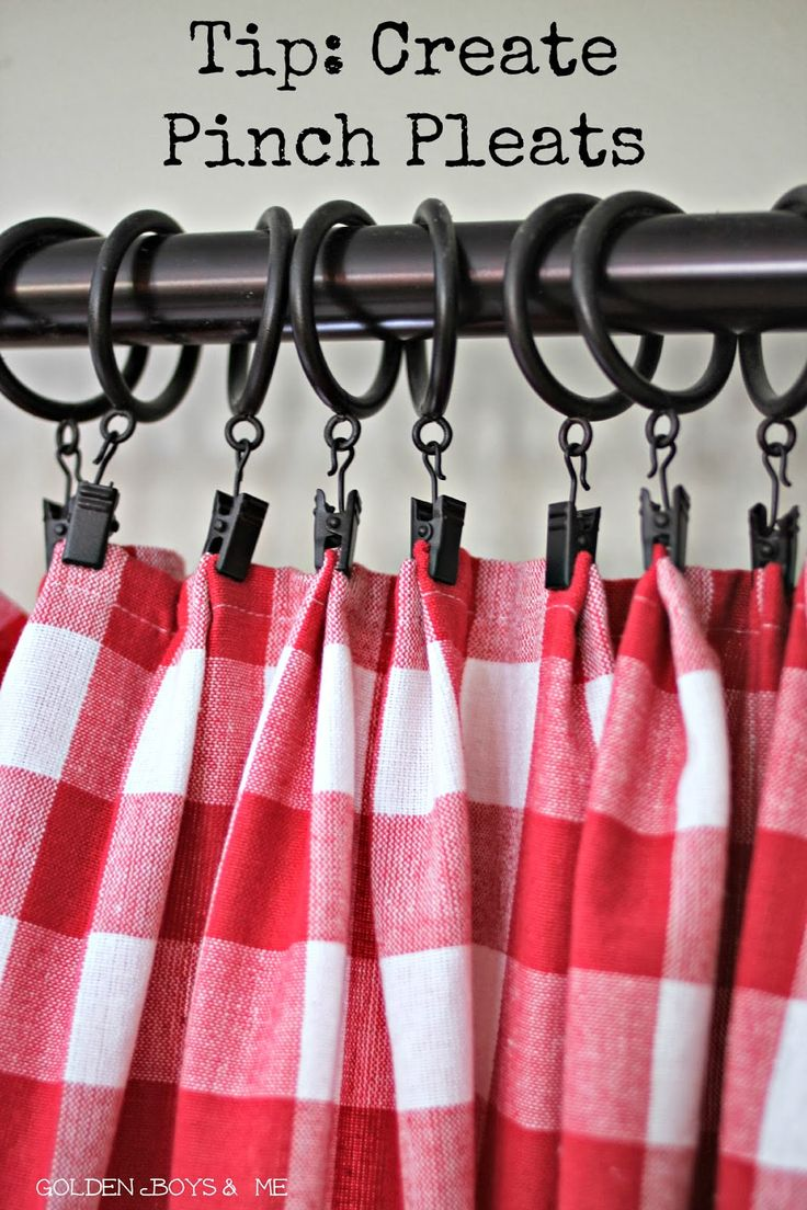 pinch pleats red and white check draperies with drapery clips-www.goldenboysandme.com