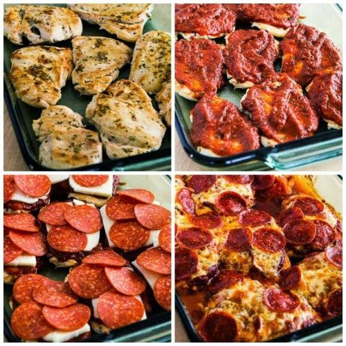 Low-Carb Pepperoni Pizza Chicken Bake (#Gluten-Free) found on @kalynskitchen