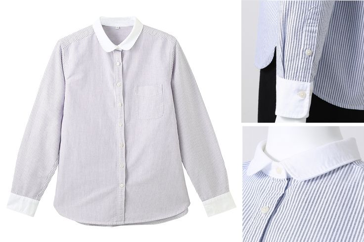 Round collar oxford shirt  Made from 100% organic cotton, these crisp everyday classic shirts feature a 'Peter pan' collar and will complete your capsule wardrobe
