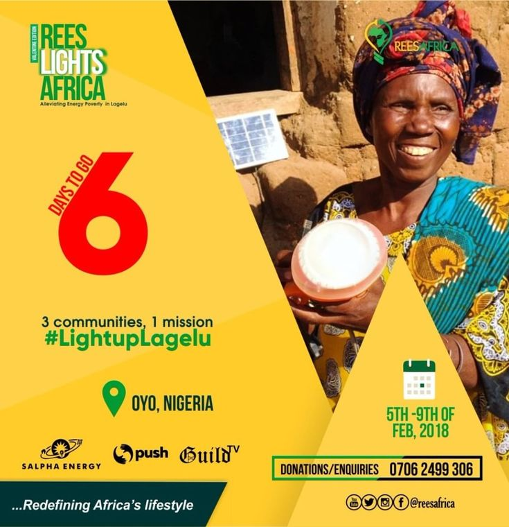 Count down !!! Count down to a transformation in the lives of people in Lagelu. A community devoid of electricity for so many years. @reesafrica partners with @guild_tv @salphaenergy @pushfoundation to improve lives in Lagelu community by taking them out of the dark and showing them light .... #sdgs #youth #volunteer #cleanelectricity #lightuplagelu #reeslightsafrica #salphaenergy #pushfoundation #guildtv #endenergypoverty #oyostate #solarenergy