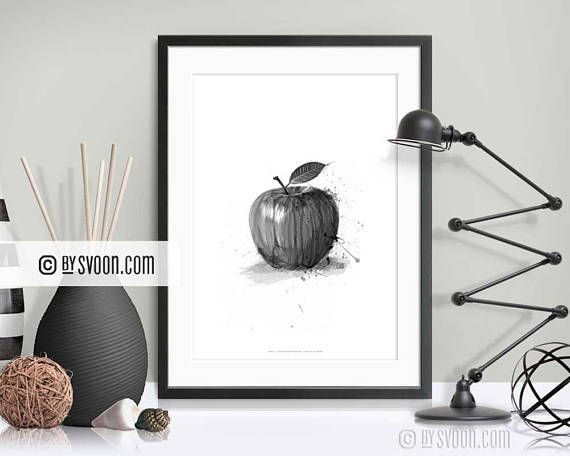 Apple Print Black Apple Poster Black & White Apple Drawing