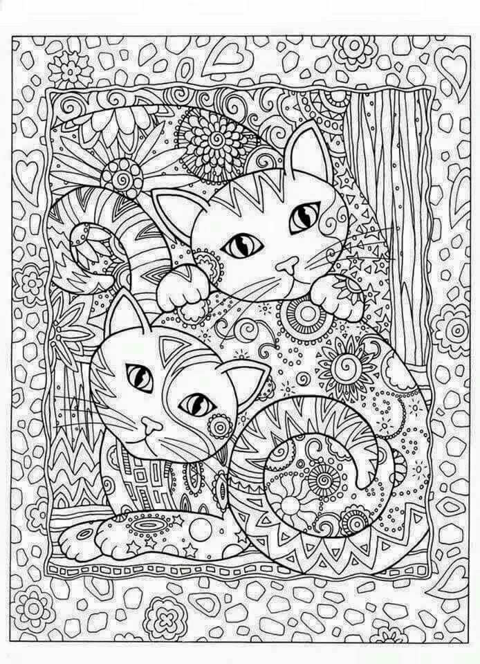 Little Cats Adult Colouring Page