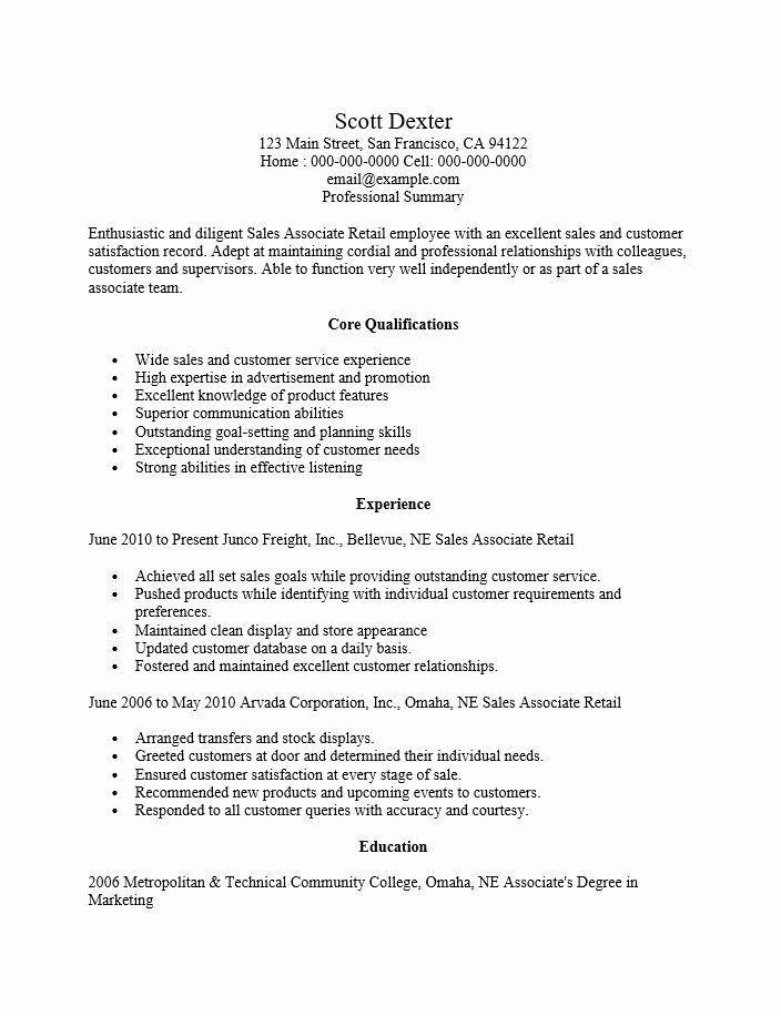 Retail Sales Associate Resume Example Beautiful Retail Sales Associate Resume Template Resume Templates Sales Resume Examples Resume Template Resume Examples