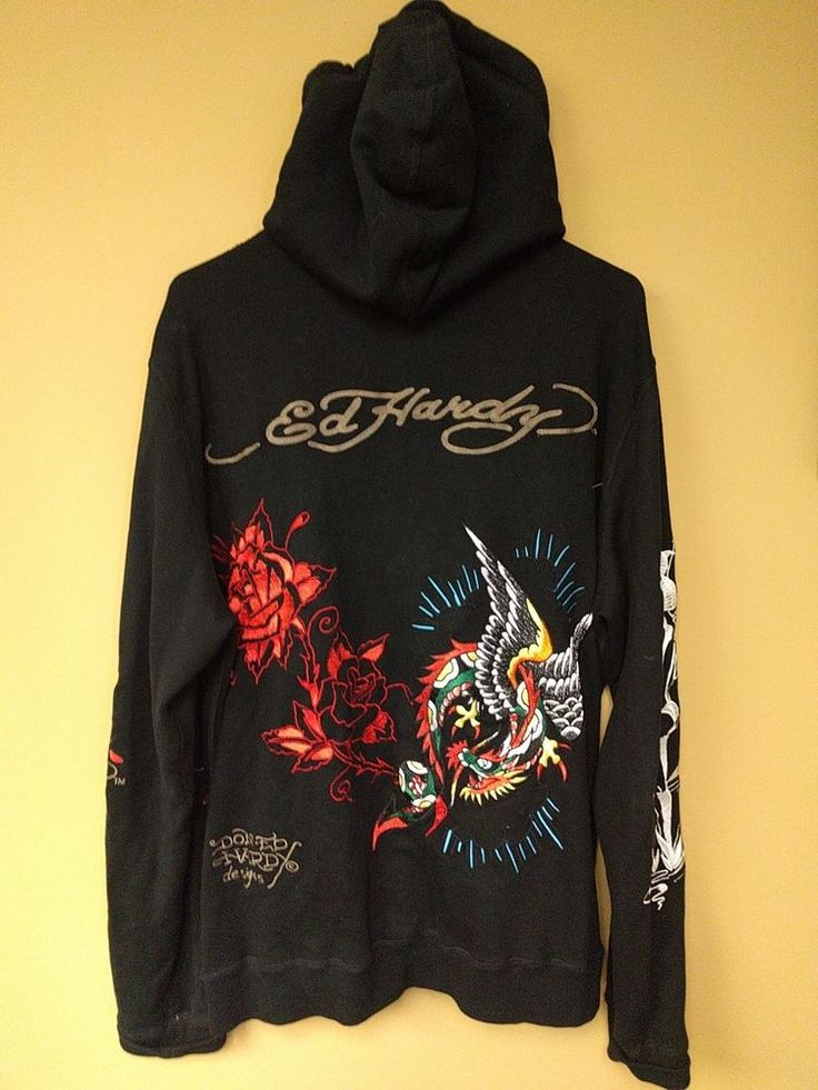 Don ED HARDY Hollywood Black Women's Embroidered Zippered Hoodie Dragon Roses XL | Clothing, Shoes & Accessories, Women's Clothing, Sweats & Hoodies | eBay!