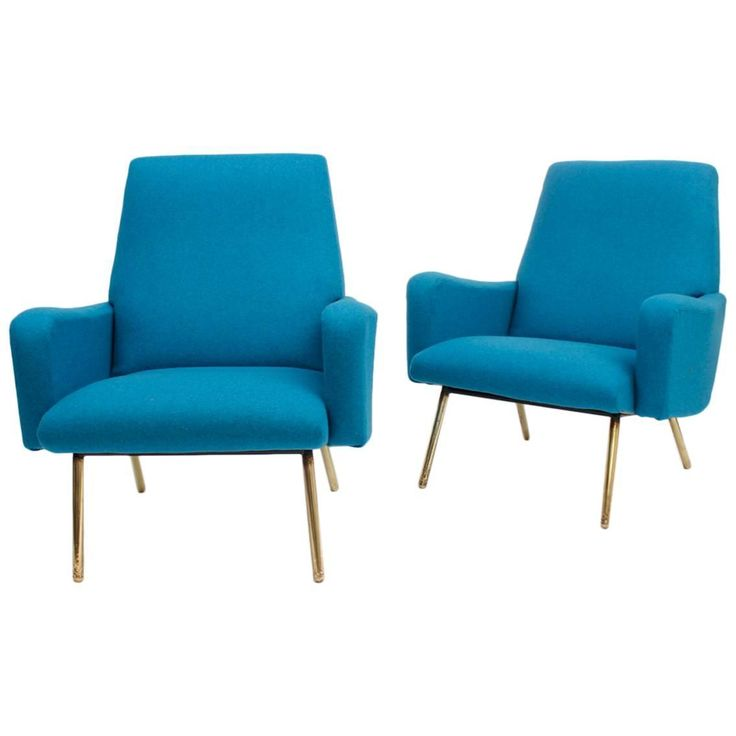 Pair Of Blue Armchairs, Louis Paolozzi Attributed, France, Circa 1950