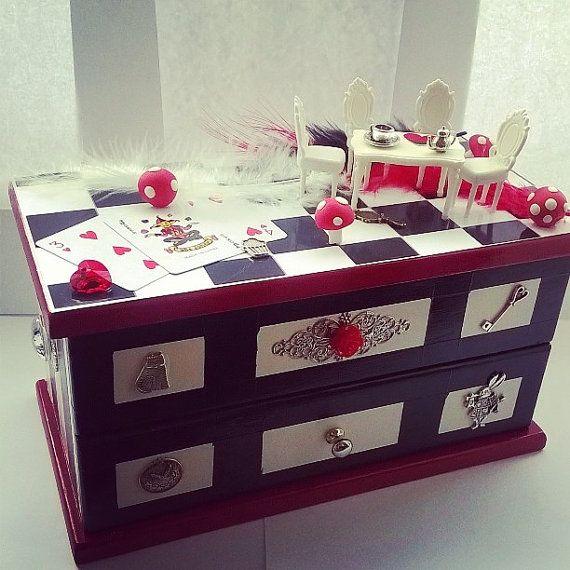 handmade  jewellery box Alice in wonderland inspired