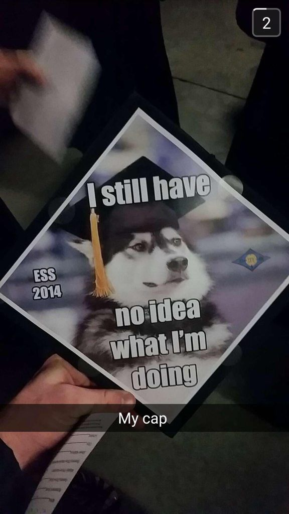 My friend just graduated college with a degree in Astronomy. This was his cap. He's headed to graduate school...