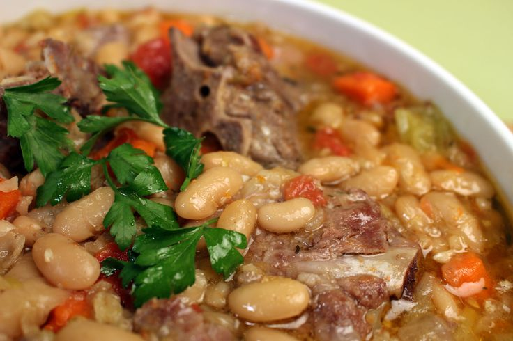 A tender and tasty dish, Pork Neck and Bean Stew as cooked by Jacques Pepin on new series 'Heart and Soul', airing on PBS nationwide from fall 2015 #JPHeartandSoul
