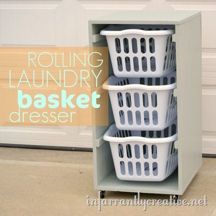 Laundry dresser made with Ana White's plans but configured to slide the baskets in lengthwise: Laundryrooms, The White, Laundry Basket Dresser, Laundry Rooms, Laundry Baskets Holders, Great Ideas, Rolls Laundry, Spaces Savers, Laundry Baskets Dressers