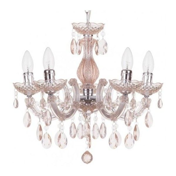 Marie Therese 5 Light Chandelier Pale Pink (92 AUD) ❤ liked on Polyvore featuring home, lighting, ceiling lights, t5 light, 5 arm lamp, 5 arm chandelier, 5 bulb chandelier and pink chandelier light