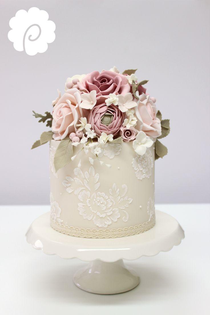 Sugar flower decorative vintage mini wedding cake in soft dusky tones