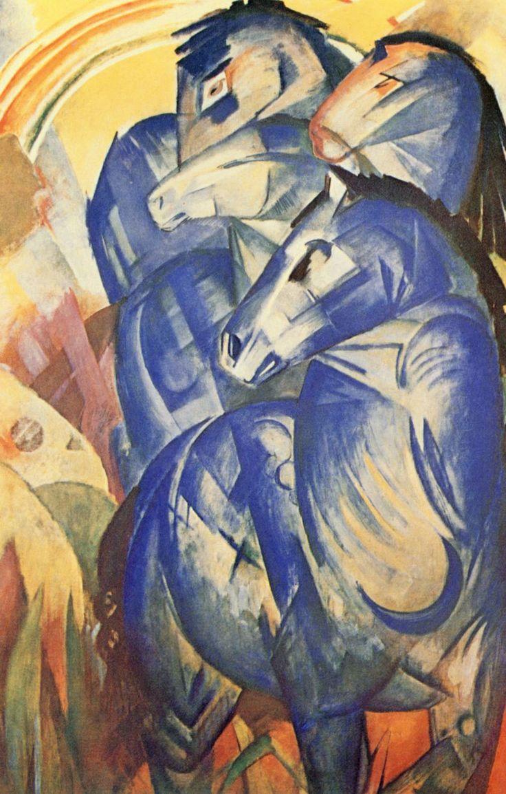 herzogtum-sachsen-weissenfels:  Franz Marc (German, 1880-1916),Der Turm der blauen Pferde [Tower of Blue Horses], 1913. Oil on canvas, 200 x 130 cm. (Painting has been missing since 1945 when it was last seen in the possession of Hermann Goering.)