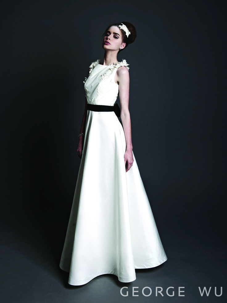 Aurelia Dress - silk, hand appliqued corded French chantilly lace gown linning in silk.