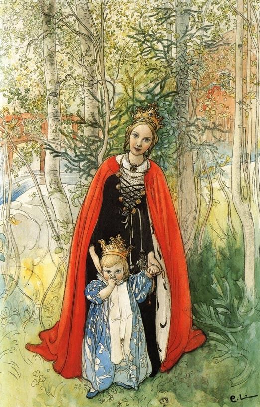 And as the frog foretold, so it happened; and the queen bore a daughter so beautiful that the king could not contain himself for joy, and Sleeping Beauty - Carl Larson