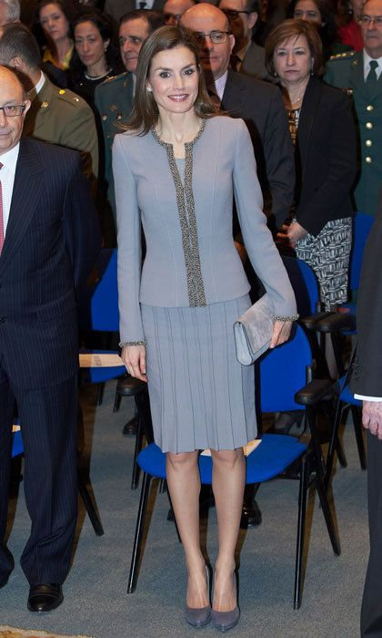 Queen Letizia was fifty shades of grey and chic wearing a pleated knee-length skirt and collarless jacket by Felipe Varela to the Tomas Francisco Prieto Awards held at the Casa de La Moneda Museum.
