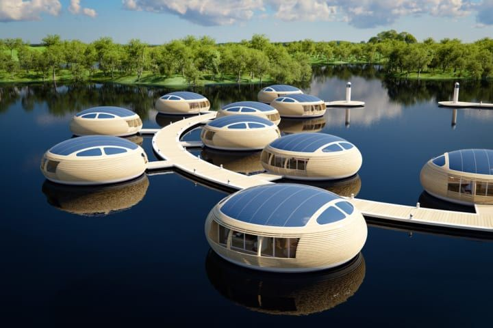 Several habitats called WaterNest 100 are installed on the lake in radial configuration to create an eco-resort with floating suites. WaterNest Village designed by Giancarlo Zema is the ideal solution for hotel groups and hospitality investors working in the field of eco-tourism who wish to make a truly innovative floating resort and environmentally friendly way to live in style independently, exclusively and in complete harmony with nature. #FloatingArchitecture #FloatingResort…