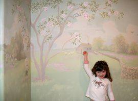 Pastoral Landscape Nursery Mural - Cottage with Sheep
