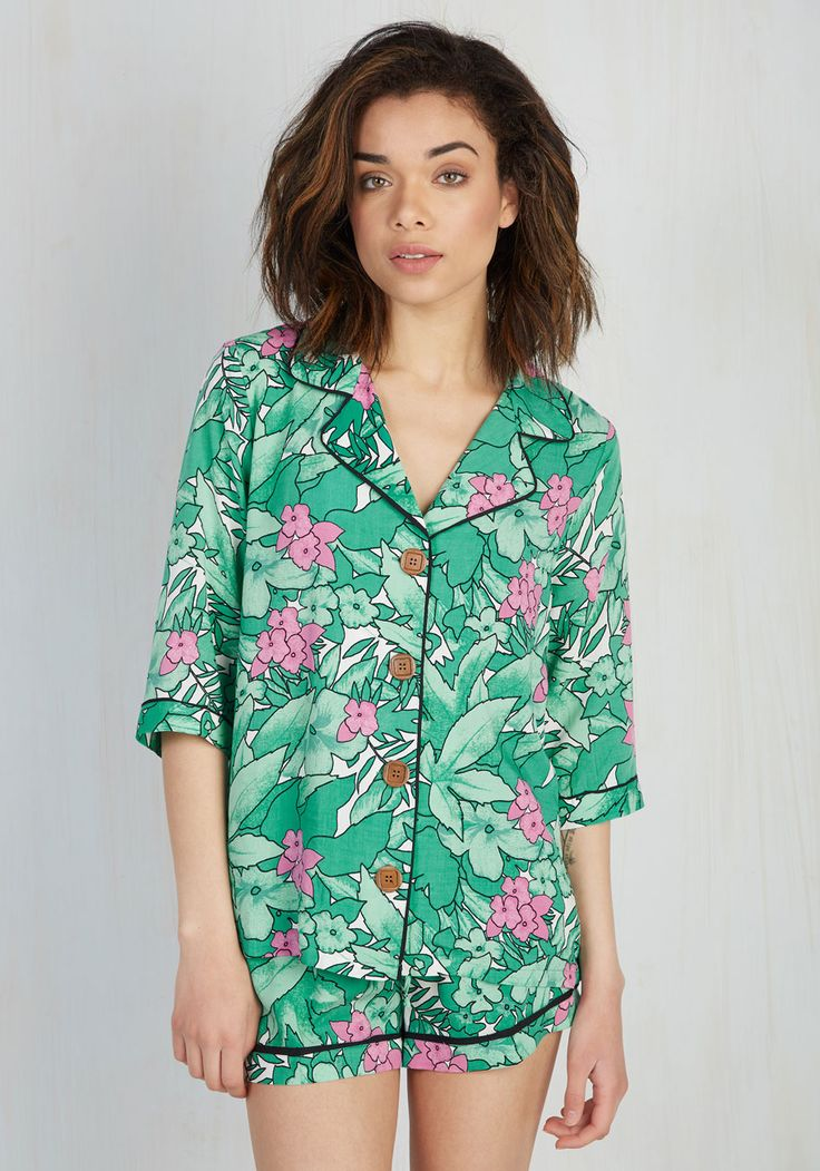 Right From the Get-Grow Sleep Top. The moment you laid eyes on this tropical sleep top from Mink Pink was a life-changing event. #green #modcloth