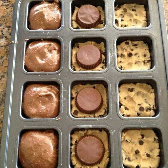 awesomeness in a pan - preheat oven to 350; smoosh 1.5 squares of break-apart refrigerated cookie dough into the bottom of each well.  place reese cup upside down on top of cookie dough (or an oreo!).  top with prepared box brownie mix, filling 3/4 full.  bake for 18 minutes.3 4 Full, Cookies Dough, Reese Cups, Boxes Brownies, Cup Brownie, Cookie Dough, 18 Minute, Peanut Butter Cups, Brownies Mixed