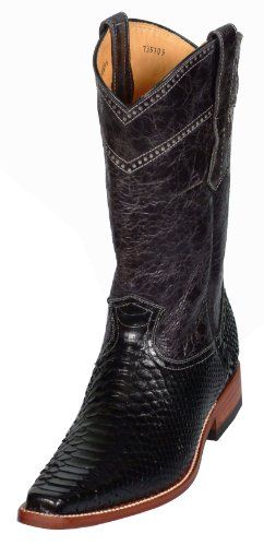 Python Exotic Snakeskin Leather Black Square Toe Styled Men's Cowboy Fashion Western Boots 8794