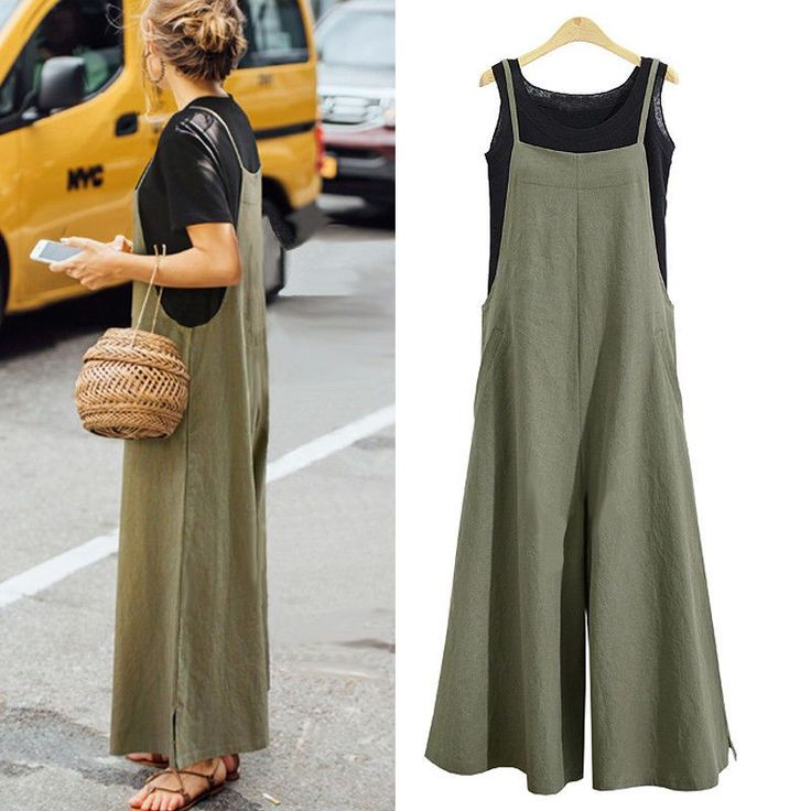 Loose Solid Twin Side Pockets Tank Jumpsuit. Material: 100%Cotton.