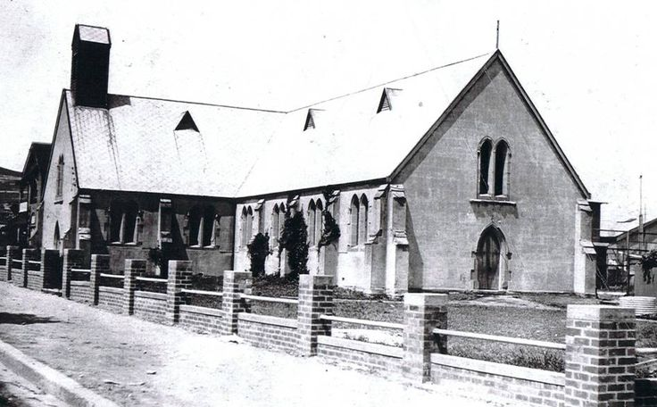 Pictured at left is Cooks Hill's historic St John's Anglican Church as seen about 1940.