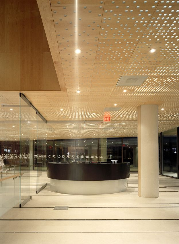 """House of Sweden"" is the name of the Swedish Embassy in Washington, D.C. The modern, exciting and open building is designed by Gert Wingårdh and Tomas Hansen and stands on the bank of the Potomac. back lit perforated maple panels in the ceiling"