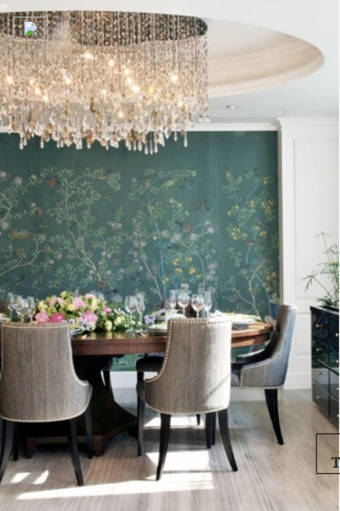 Rooms:Dining Rooms love the ceiling, accent wall and chandelier