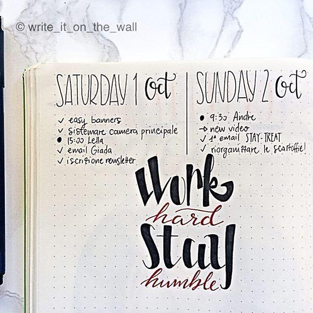 "Nuovo mese e solite raccomandazioni! Lavorare duramente rimanendo sempre umili! ""Work hard Stay humble"" 💪🏼 #workhard #leuchtturm1917 #leuchtturm #showmeyourplanner  #typography #bulletjournal #bujo #handlettering #handlettered #moderncalligraphy #lettering #calligraphy #calligraphyph #planner #planneraddict #plannerlove #plannernerd #handwriting #handtype #bulletjournaling #bulletjournaljunkies #bujojunkies #bulletjournallove #bujolove #bulletjournalcommunity #bulletjournalitalia…"
