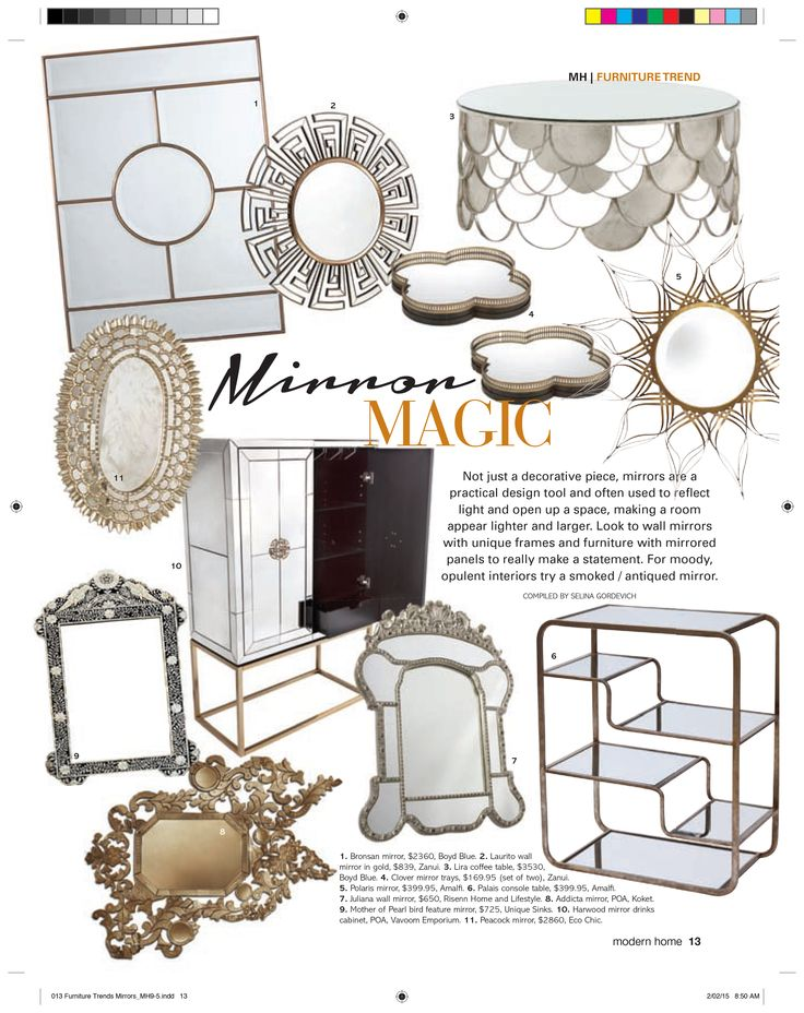 Modern Home magazine features Unique Sinks' Mother of Pearl Inlay mirror   http://uniquesinks.com.au/collections/bone-inlay-mirrors/products/mother-of-pearl-inlay-mirrors