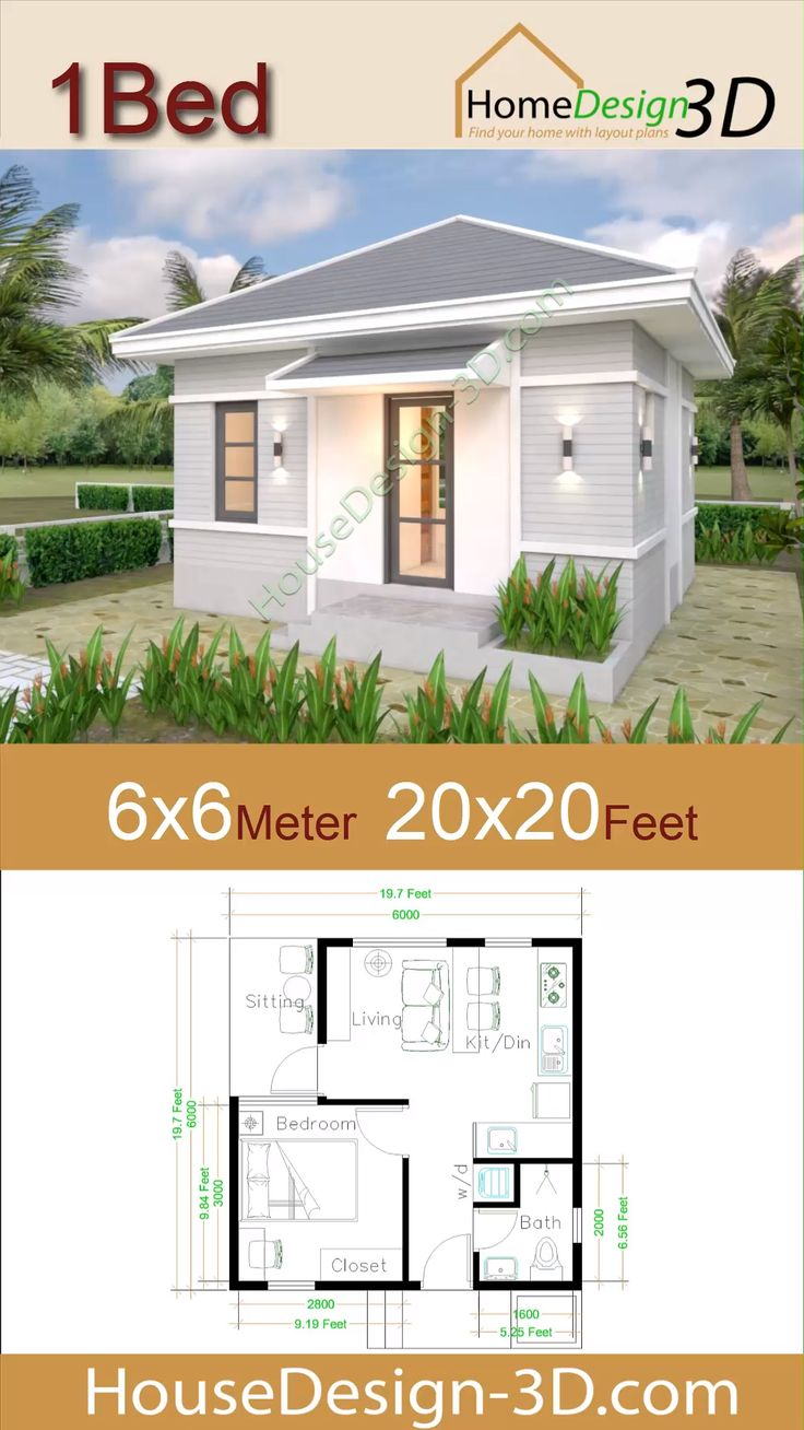Small House Plans 6x6 With One Bedroom Hip Roof Video