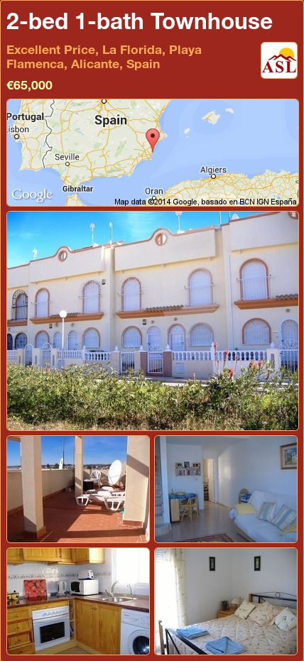 2-bed 1-bath Townhouse in Excellent Price, La Florida, Playa Flamenca, Alicante, Spain ►€65,000 #PropertyForSaleInSpain